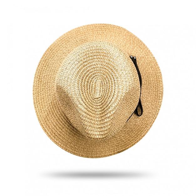 麦わら帽子は、白い背景で隔離。黒いリボンとパナマ帽子スタイル。 Premium写真