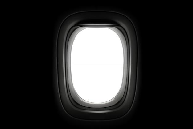 Окно самолета изолированное на темной предпосылке. Premium Фотографии
