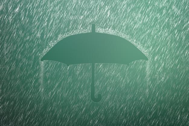 Капля дождя с зонтиком. сильный дождь и шторм погоды в сезон дождей. Premium Фотографии