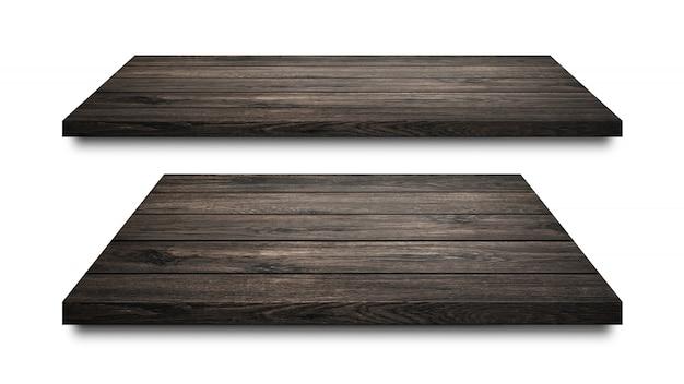 白で隔離される黒い木製の棚 Premium写真