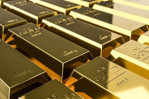 急成長している企業の利益を取引することで得られる純金の富。 Premium写真