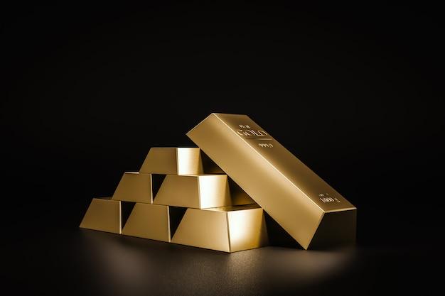 Стек золотых слитков богатства от торговых прибылей быстрорастущих предприятий. Premium Фотографии