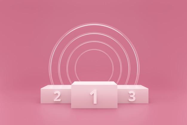 Дисплей подиума или постамента победителя на розовой предпосылке с стеклянным кольцом и концепцией успеха. Premium Фотографии