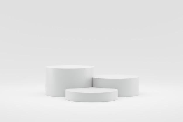 Пустой дисплей подиума или постамента на белой предпосылке с концепцией стойки цилиндра. Premium Фотографии