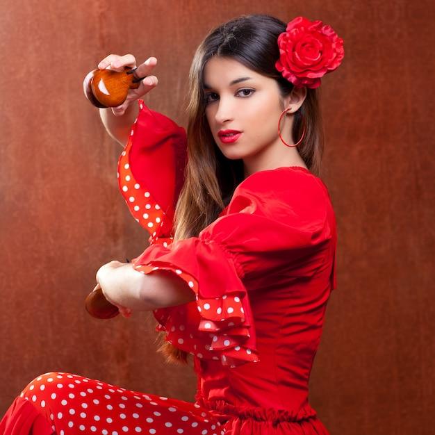 カスタネットジプシーフラメンコダンサースペインの女の子 Premium写真