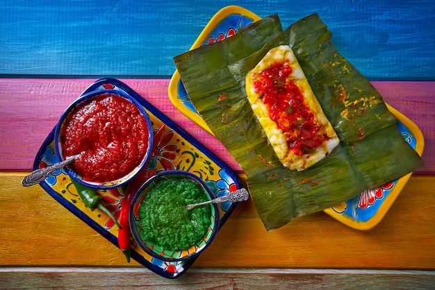 バナナの葉とタマーレのメキシコ料理レシピ Premium写真