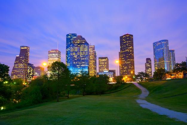 公園から夕暮れの夕暮れヒューストンテキサス近代的なスカイライン Premium写真