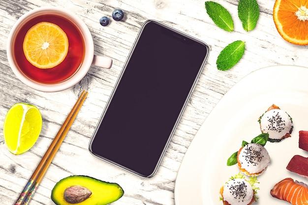 寿司バーのモックアップ Premium写真