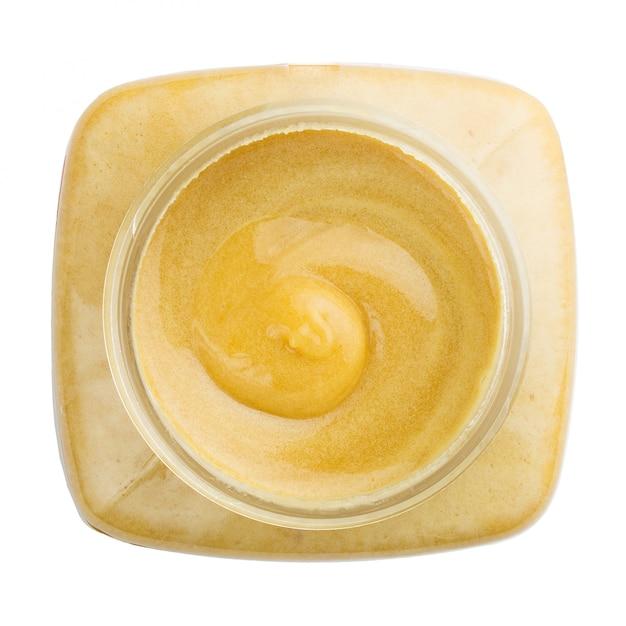 蜂蜜の瓶のトップビュー Premium写真