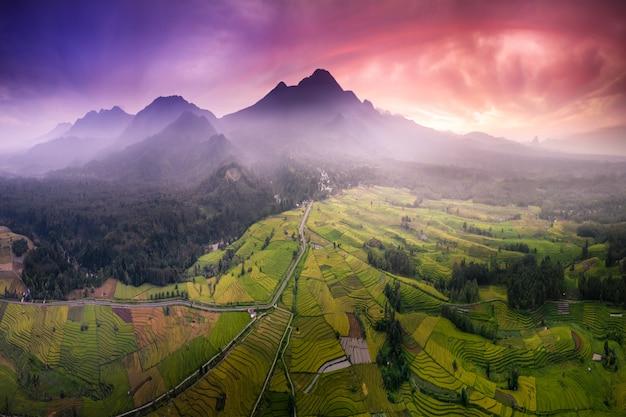 朝の光と山の自然の美しさの空撮写真 Premium写真