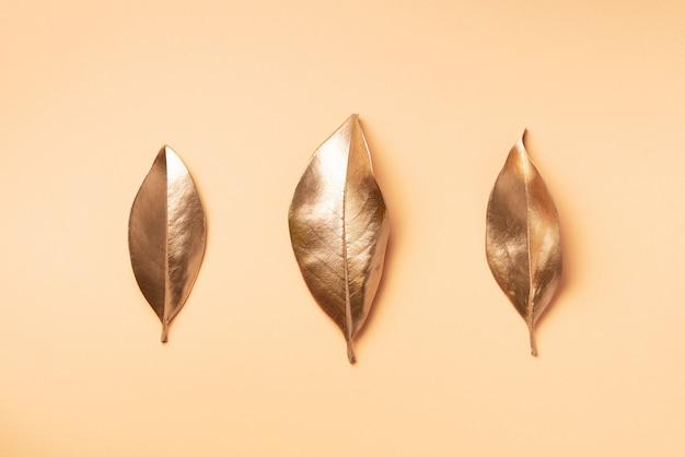 黄金の葉。上面図。 Premium写真