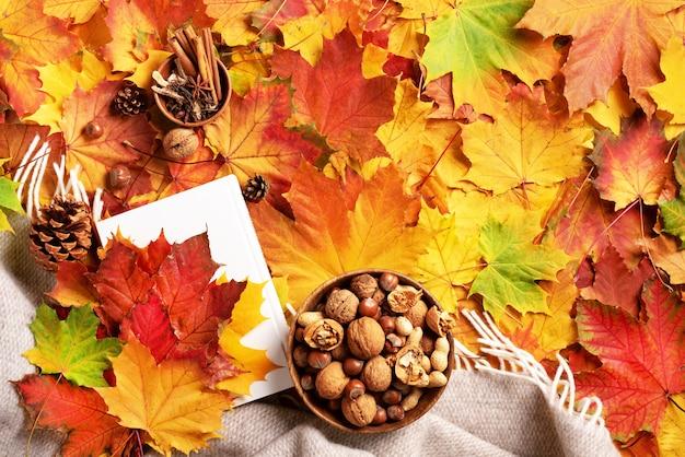 読書の時間。秋のフラットレイアウト。白い本、木のボウル、ナッツ、コーヒーカップ、コーン、シナモン Premium写真
