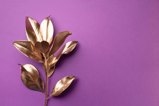 花のミニマルスタイルのコンセプト。エキゾチックな夏のトレンド。黄金の熱帯の葉と枝 Premium写真
