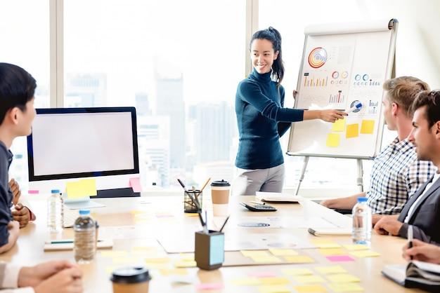 自信を持って若い女性のオフィスでの会議の統計グラフの表示 Premium写真