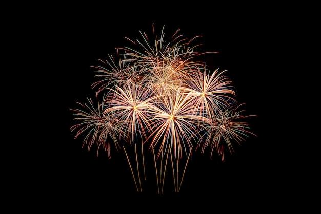 美しいカラフルな輝く花火のグループ Premium写真