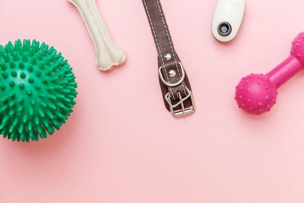 Уход за животными и концепция животных. игрушки и аксессуары для игры с собаками и дрессировки, изолированные на модной розовой пастели Premium Фотографии
