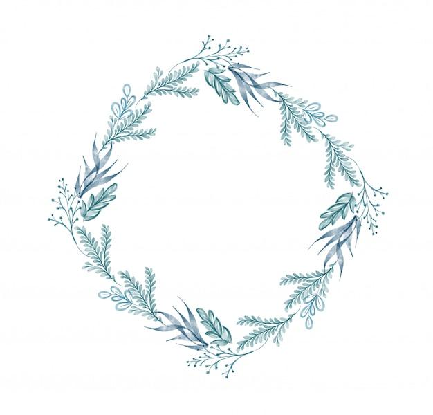 水彩画の葉の花輪 Premium写真