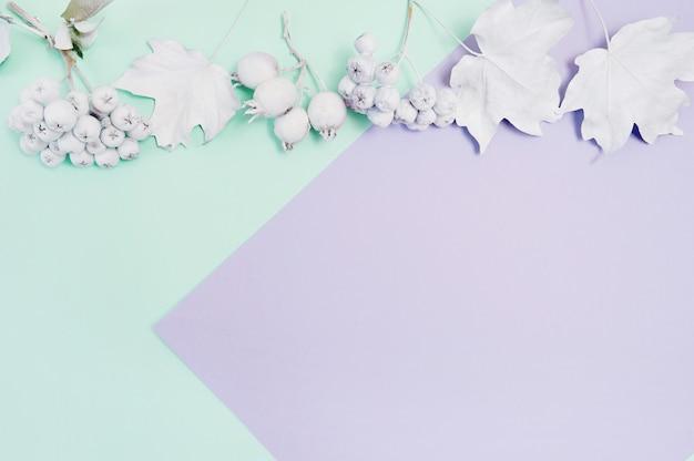 カボチャ、果実、ターコイズと紫のパステル紙の上の葉の白いフレーム Premium写真
