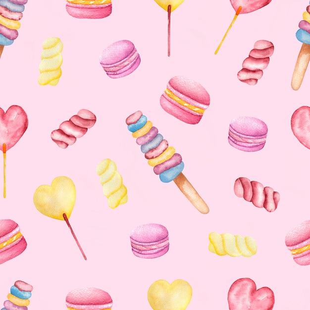手のシームレスな水彩画パターンのお菓子やおいしいマカロンを描いた Premium写真