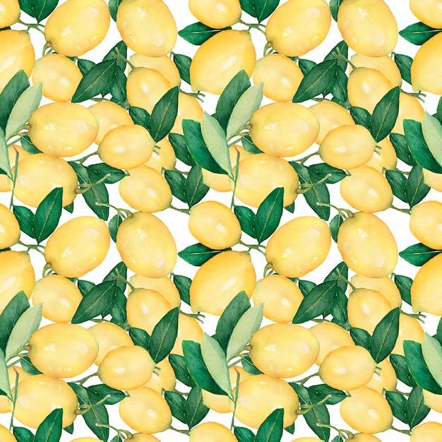 レモンと水彩のシームレスパターン。 Premium写真