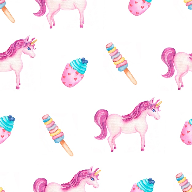 お菓子とアイスクリームとかわいい水彩ユニコーンパターン Premium写真