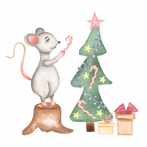 Акварель рисованной милый мультфильм рождественская крыса Premium Фотографии