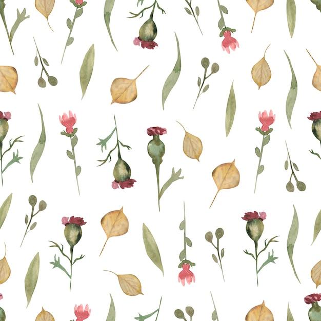 Акварельный цветочный узор из полевых цветов, нежные цветочные обои с различными полевыми цветами и осенними листьями Premium Фотографии