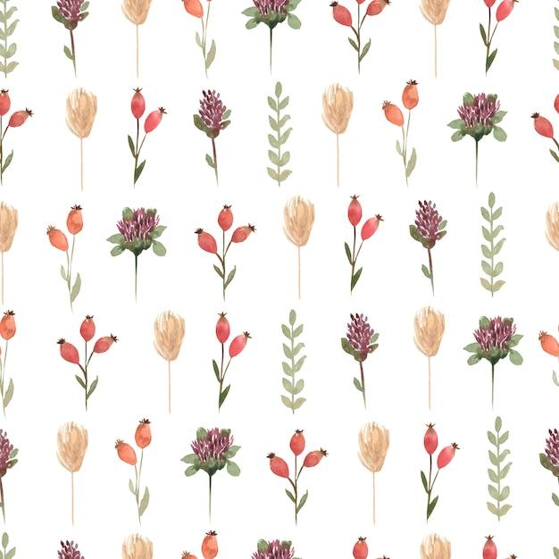 Акварель уайлдфлауэр цветочные бесшовные модели, нежные цветочные обои с различными полевыми цветами Premium Фотографии