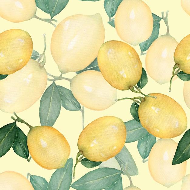水彩のビンテージシームレスパターン、新鮮な柑橘系の黄色いフルーツレモンの枝 Premium写真