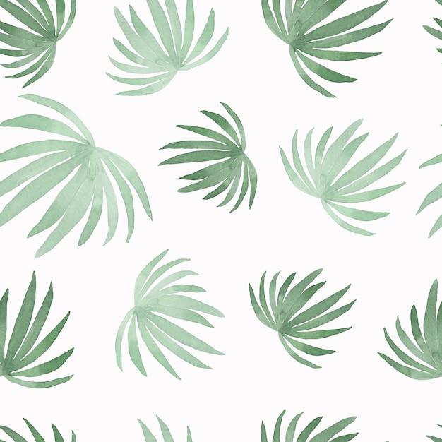 絵画ココナッツ椰子の葉の水彩画のパターン Premium写真