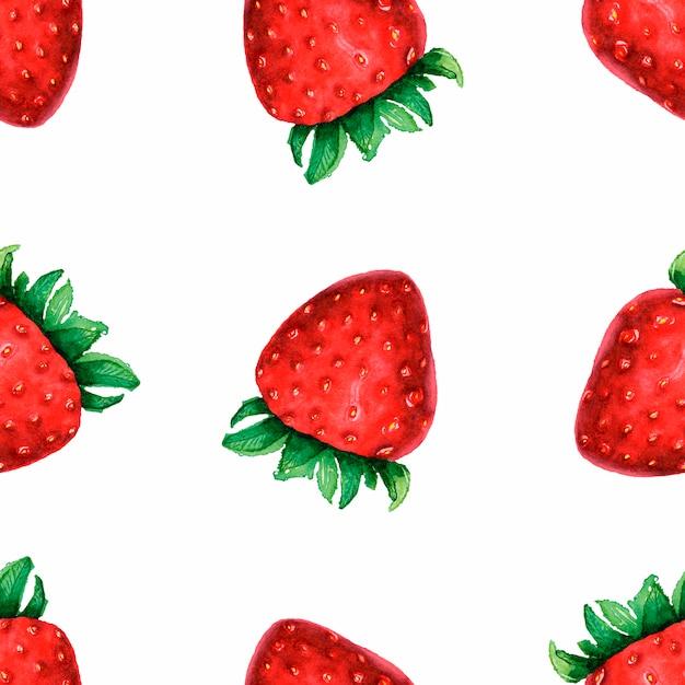 水彩の手でシームレスなパターンは白地にかわいいイチゴを描画 Premium写真