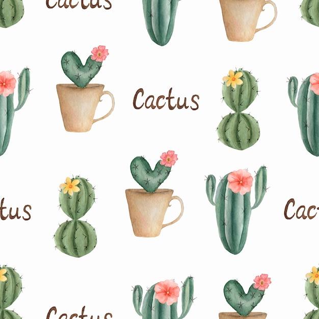 水彩のシームレスなサボテンの花模様。鍋にサボテンと手描き。温室植物 Premium写真