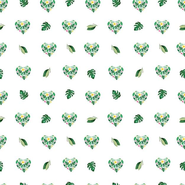水彩トロピカル葉シームレスパターン。ハートの花の形 Premium写真