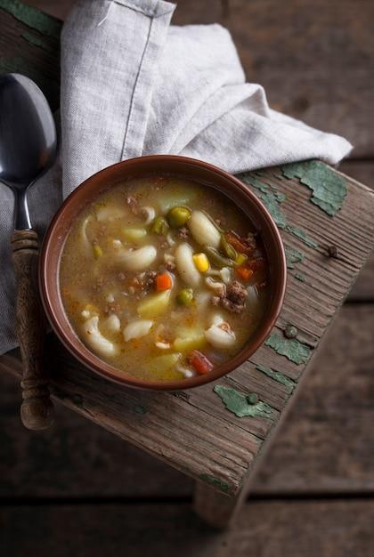 野菜とひき肉のスープ Premium写真