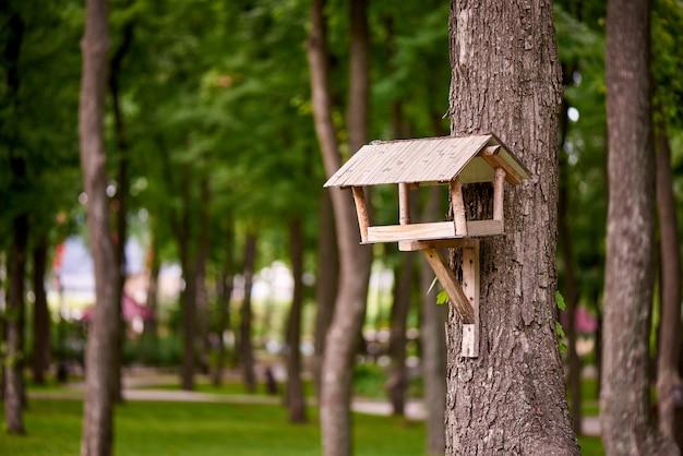 公園の木に鳥の餌箱。 Premium写真