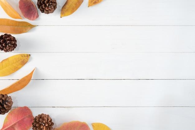 白い木の秋の乾燥した葉 Premium写真