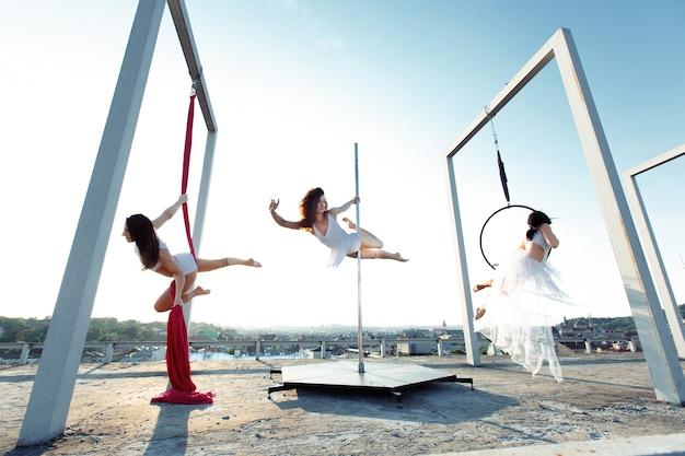 屋上でポールダンスを行うアスレチックダンサー 無料写真