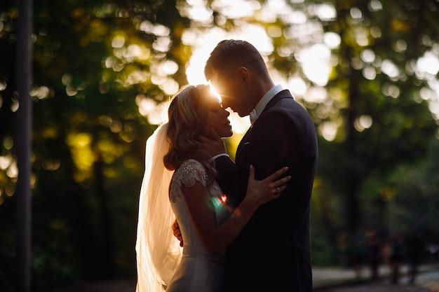 夕方の太陽は美しい結婚式のカップルの周りにハローを作る 無料写真