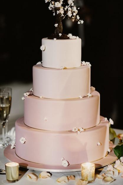 キャンドルとバラの花びらで飾られたピンクのウェディングケーキ 無料写真