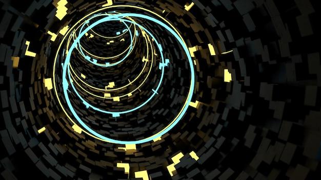 レトロでサイファイのパーティーシーンでサークルライトトンネル背景で実行されています。 Premium写真