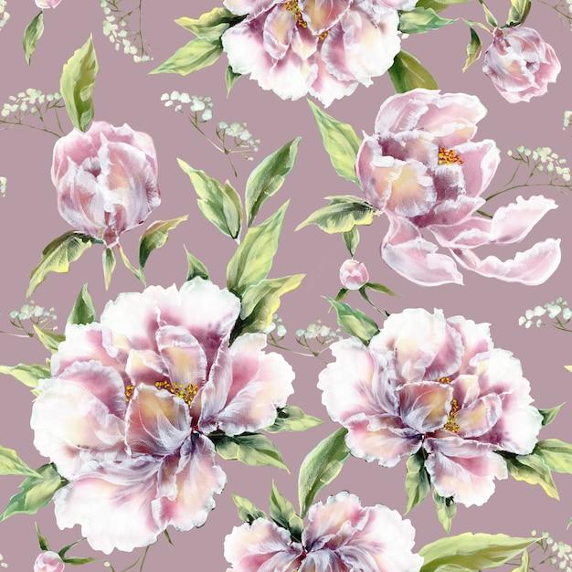 葉と芽の美しい花の花のシームレスなパターン Premium写真
