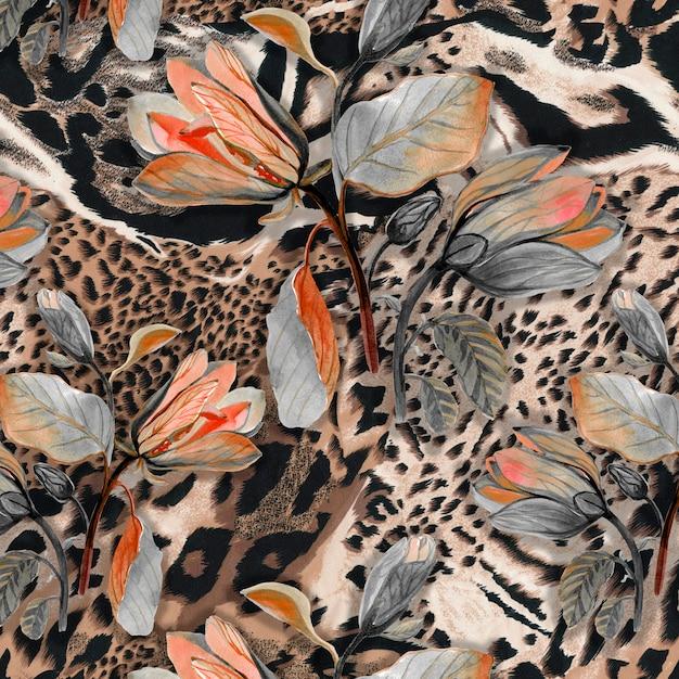Бесшовный текстильный фон из шкур диких африканских животных с цветами бровей Premium Фотографии