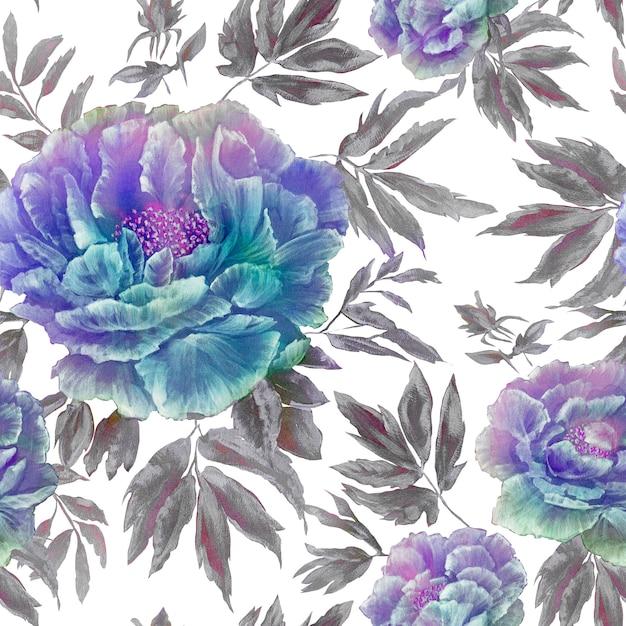 葉と芽の美しい青い花の花のシームレスパターン Premium写真