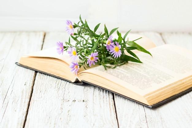 ウィンドウに開いた本に咲くバージンアスターの花。 Premium写真