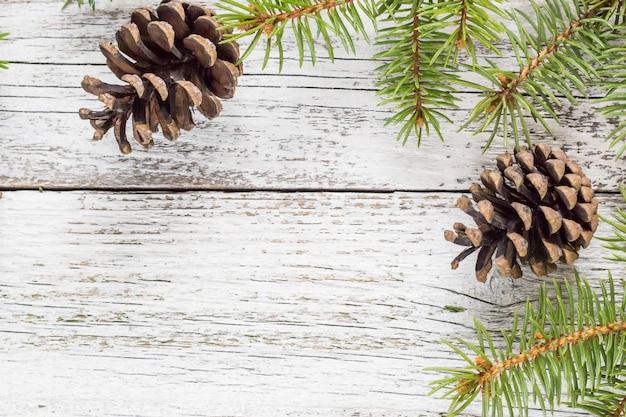 コーンとクリスマスのモミの枝 Premium写真
