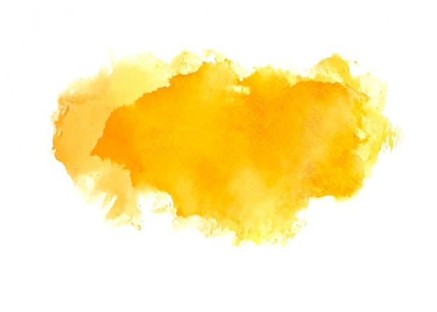 オレンジ色の水彩画の汚れ色合いペイントストローク Premium写真