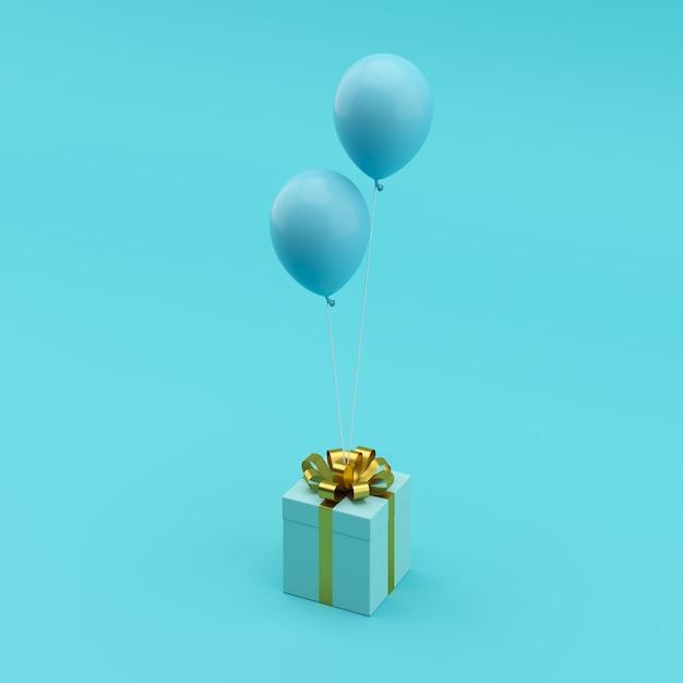 最小限の概念青い背景に青い風船とゴールドのリボンと優れた青いギフトボックス。 Premium写真
