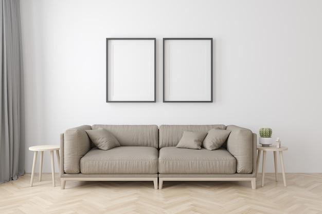 Интерьер гостиной в современном стиле с тканевым диваном, тумбочкой и пустыми черными рамами на деревянном полу Premium Фотографии