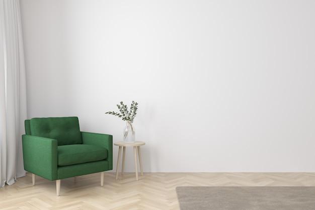 Интерьер гостиной в современном стиле с тканевым креслом, тумбочкой и пустой белой стеной на деревянном полу Premium Фотографии