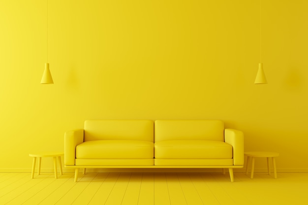 最小限の概念黄色の床と背景にリビング用の黄色のトーンのインテリア。 Premium写真